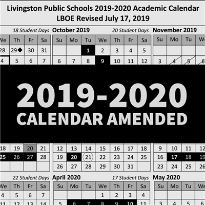 Amended 2019-2020 Academic Calendar Approved