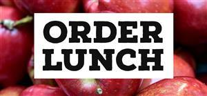 "photo of apples and ""order lunch"" wording"